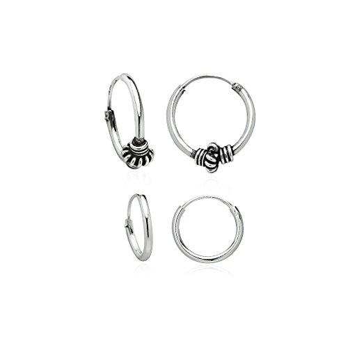 925 Sterling Silver Small Endless Hoop Earrings Balinese Style   Set of 2 10,12mm