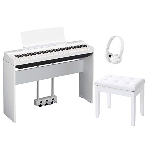 Yamaha P121WH 73-Key Weighted Action Digital Piano White with Matching L121WH Furniture Stand, Yamaha LP1WH 3-Pedal Unit, Padded Piano Bench with storage, and Compact Stereo Headphones