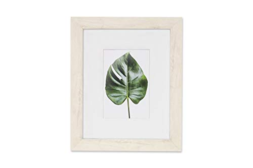 8x10 Picture Frame with Mat & Glass Wood Finish for Wall Tablet, Monteverde Collection, Display Photo 4x6 Opening, Soft White