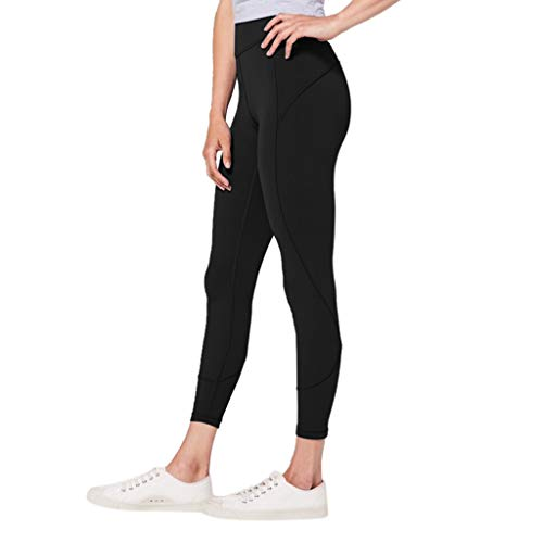 (UONQD 2019d New Pants for Women Work Casual Plus Size, Women's High Waist Solid Yoga Pants Workout Running Sports Leggings Pants Black)