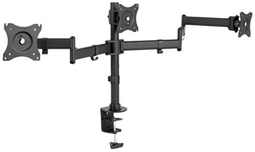 VIVO Black Triple Monitor Adjustable Desk Mount Articulating