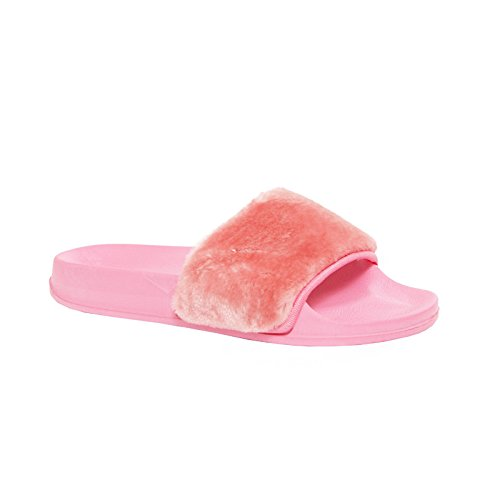 ladies womens flats flip flops slip on comfy slider slipper rubber sandals 3-8 Pink HTcKoLmg