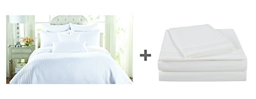 NC Home Fashions 5 pc bed in a bag: Channel Quilt Set + Embroidered Sheet Set,Twin, Bright White by NC Home Fashions Inc