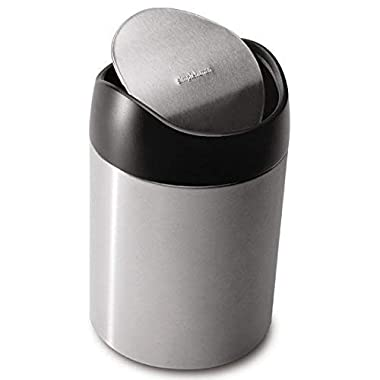 simplehuman Countertop Trash Can, Brushed Stainless Steel, 1.5 L / 0.40 Gal