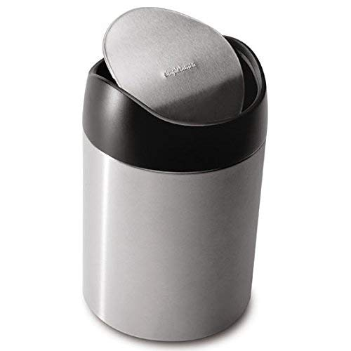 - simplehuman 1.5 Liter / 0.40 gallon Countertop Trash Can, Brushed Stainless Steel