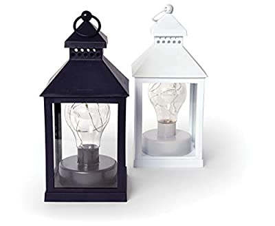 Home Decor LED Lanterns Decorative Set of 2 Pcs White Black Ying Yang Dining Accent Table Desk Lamp, Garden Decor, Wedding Decor, BO Cordless Hanging Lamp Indoor Outdoor Patio Lighting Deck Lights