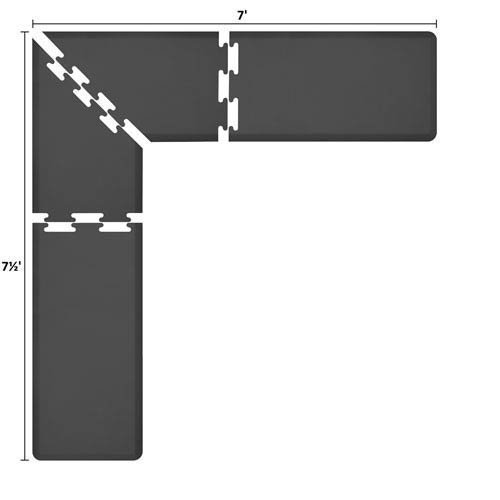 WellnessMatsパズルピースコレクション2足Wide Lシリーズブラック抗疲労7.5 X 7足マット   B005EV97K4