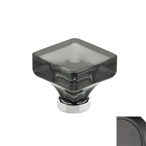 Emtek 86554 Lido Series 1-3/8 Inch Long Smoke Crystal Square Cabinet Knob, Flat Black