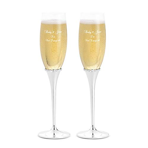 Things Remembered Personalized Princess Silver Crystal-Band Champagne Flute Set with Engraving Included