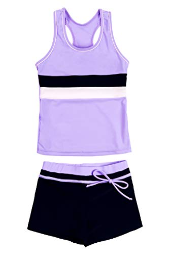 KABETY Little Girls Summer Two Piece Boyshort Fashion Tankini Swimsuit (Purple, 14-15=5XL) (Best Summer Bathing Suits)