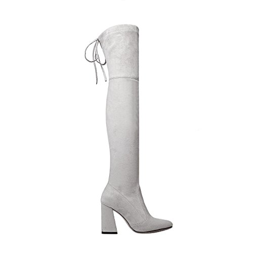ENMAYER Mujeres Botas de muslo sobre la rodilla Party Wedding Stretch Bloque Botas de tacón medio Gris claro#G1