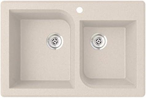 QZRC-3322 22 x 33 Granite Drop-In Double Bowl