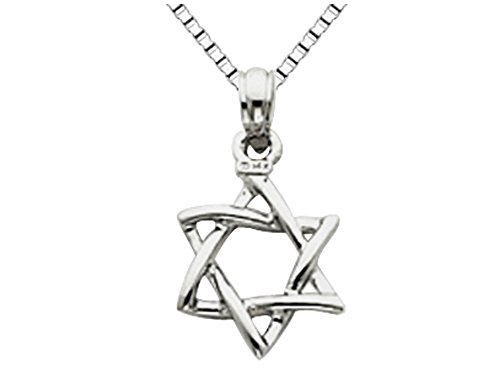Star Of David White Necklace - 14K White Gold Star of David Pendant Necklace with Chain