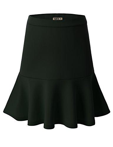 Doublju Women Soft Fabric Lightweight Mini Skirt DEEPGREEN,M