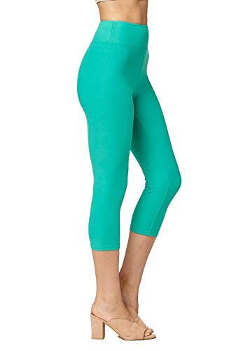Super Soft High Waisted Leggings for Women - Capri Kelly Green - Large/X-Large (12-22) - Plus