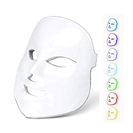 Máscara facial de fotones LED en 7 colores, terapia de rejuvenecimiento de piel