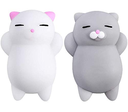 NUTTY TOYS Squishy Cat Set - 2 Soft Silicone Kawaii Kitty Squishies -Top Stress Relief & Fidget Toy 2019 - Unique Kids & Adults Easter Present Idea Gifts for Boys, -