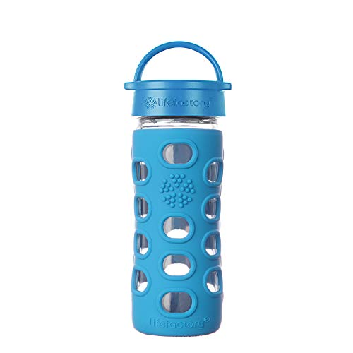 - Lifefactory 12oz Glass Bottle with Classic Cap and Silicone Sleeve - Ocean