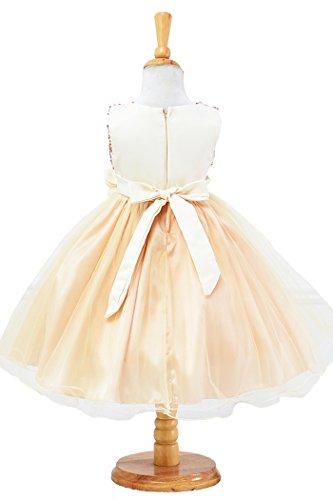Sequin Sleeveless Tulle Beige Princess Girls YMING Party Flower Tutu Dress Dress Birthday qAwCUEZ