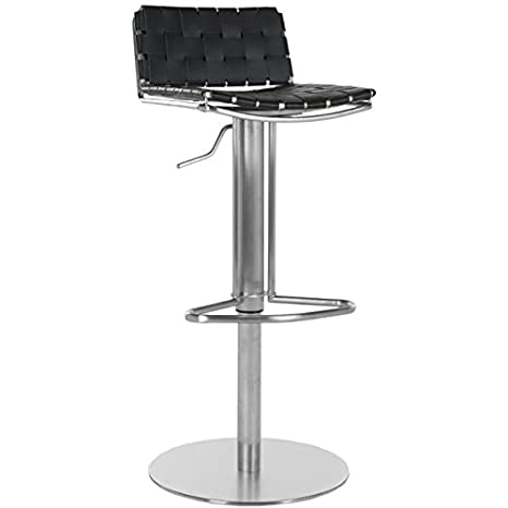Astounding Safavieh Home Collection Floyd Stainless Steel And Black Leather Adjustable Gas Lift 22 8 31 9 Inch Bar Stool Lamtechconsult Wood Chair Design Ideas Lamtechconsultcom