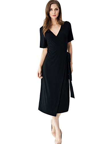 Melynnco Womens Short Sleeve V Neck Boho Casual Summer Business Wrap Midi Dress Small Black Black Jersey Wrap Dress