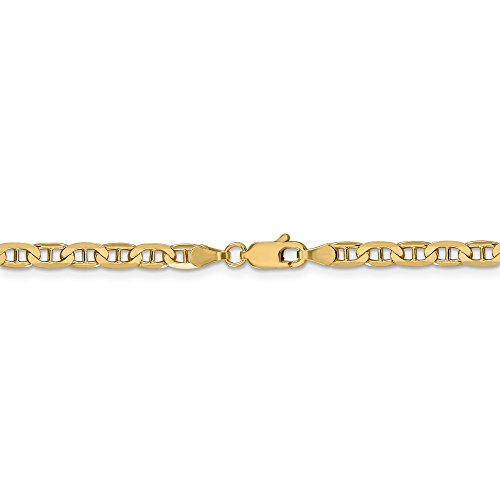 Figarucci Bracelet - 3.75 mm 14k Yellow Gold Concave Anchor Chain Ankle Bracelet - 9 Inch