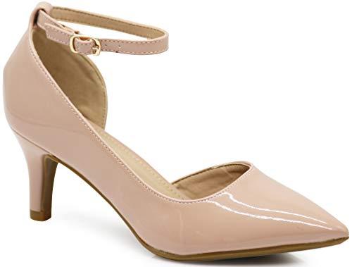 Enzo Romeo Jupiter37 Women's Pointy Toe Mid Heel Sexy Ankle Strap Sandals Ballerina Dress Pump Ballet Wedding Harlow Pump Shoes (6 B(M) US, Nude Pat (03))