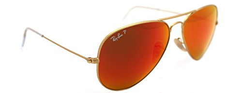 Ray Ban Aviators Matte Gold with POLARIZED Brown Mirror Red Lens RB 3025 112/4D - Ban Mirror 3025 Red Ray