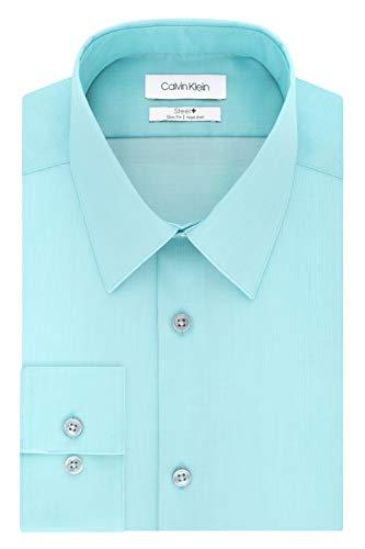 Calvin Klein Men's Dress Shirts Non Iron Slim Fit Solid, Aloe, 16