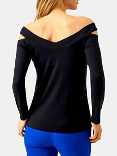 T Bretelles Chemisiers Femme sans Longue Sexy Noir Couleur Haut Blouse Chic Shirt Manches Minetom Slim Unie Col V Automne Tops Fit q0dOwOX