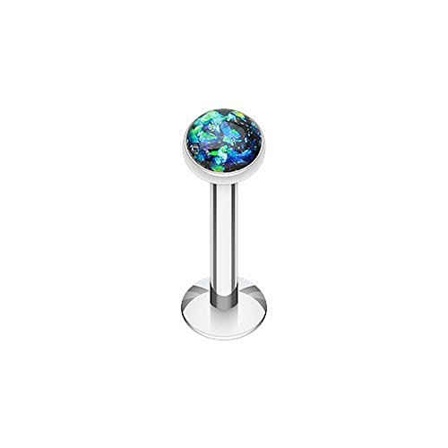 Opal Glitter Shower Dome 316L Surgical Steel Labret Monroes (16G 3/8 Black)