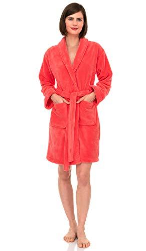 TowelSelections Women's Robe, Plush Fleece Short Spa Bathrobe X-Small Georgia Peach
