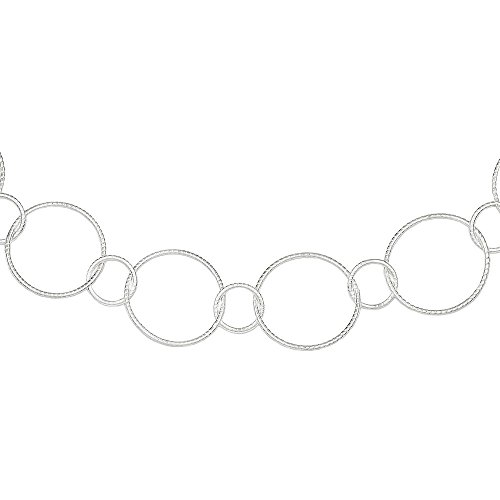5 Sterling Silver Fancy Round Link Necklace with 19mm Circles (about 3/4