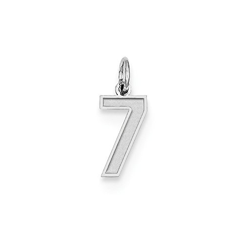 Sterling Silver Small Satin Number 7 Charm Silver Number Charms