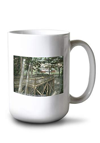 Lantern Press Portland, Maine - Riverton Park View of a Rustic Bridge and The Casino (15oz White Ceramic Mug)