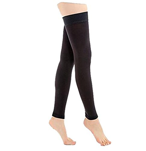 TOFLY Thigh High Compression Stockings Opaque, Firm Support 15-20 mmHg Gradient Compression with Silicone Band, Footless Compression Sleeves, Treatment Swelling, Varicose Veins, Edema, Black XL