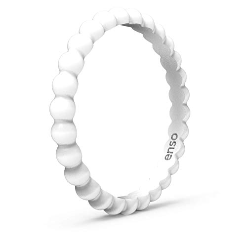 Enso Rings Beaded Silicone Ring | Premium Fashion Forward Silicone Ring | Hypoallergenic Medical Grade Silicone | Lifetime Quality Guarantee | Commit to What You Love (White, 5) - Men's Beaded Rings