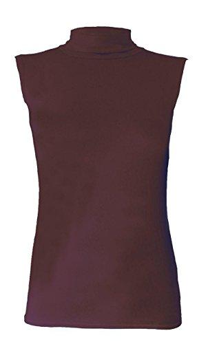 Mujer Manga Alto Mangas Marrón Sin Cuello De Fashion Corta Para Redondo Camiseta Abz w6tpqYz