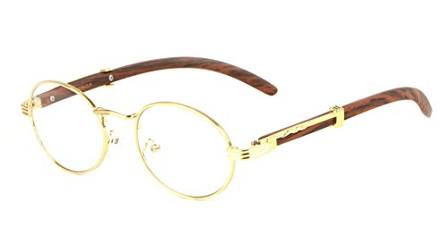 Scholar Luxury Oval Metal & Wood Eyeglasses/Clear Lens Sunglasses (Gold & Cherry Wood Frame, ()