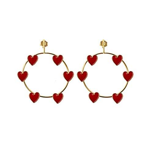 lightclub Fashion Women Big Earrings Red Hollow Circle Heart Enamel Pendant Dangle Earrings Dangling Earrings Drop Earrings Hoop Earrings Jewelry Golden