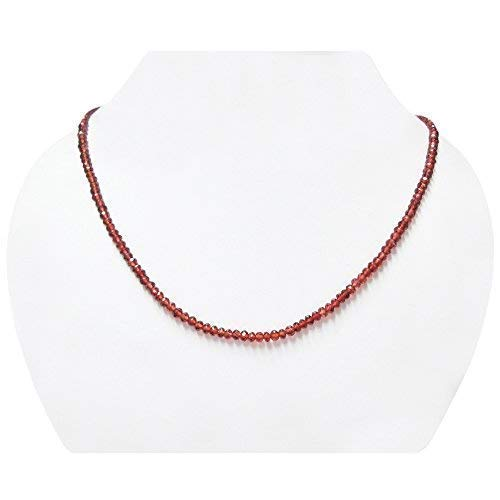Garnet Clasp - Natural Red Garnet Rondelle Beads Necklace Strand with Sterling Silver Clasp Birthstone Jewelry