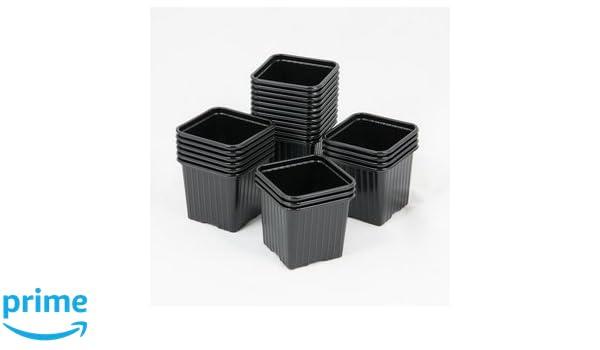 Maceta pequeña para siembra, 8 x 8 x 7 cm, color negro: Amazon.es: Jardín