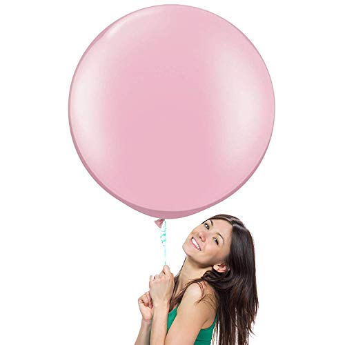 NYKKOLA 36 Inch Giant Jumbo Latex Balloon (Premium Helium Quality),6 Pack Big Balloons for Photo Shoot/Birthday/Wedding Party/Festival/Event/Carnival, Pink - Pearlescent Material