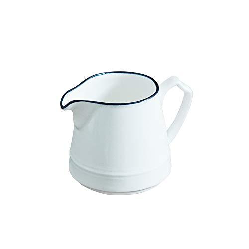LIONWEI LIONWELI White ceramic Coffee Milk creamer pitcher dispenser with handle for Kitchen 8.8oz (Ceramic Syrup Pitcher)
