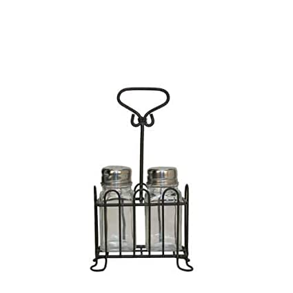 Glass Salt /& Pepper Shaker Set w// Black MetalCaddy VIP MT1236