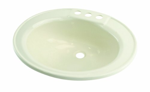 "Lippert 209358 Better Bath RV Oval Lavatory Sink 17"" x 20"" Center Drain Parchment"
