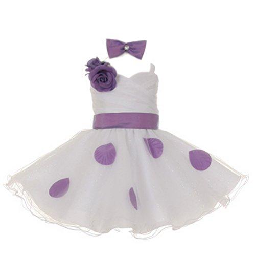 StylesILove Baby Kids Petals Taffeta Mesh Easter Flower Girl Dress with Headband 2-pc, 18M, Lavender