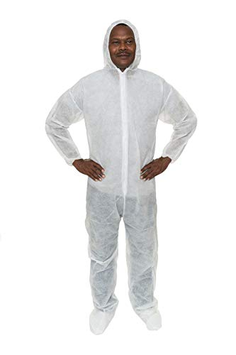 Heavy Duty Hood - Heavy Duty Polypropylene Coverall (White) with Attached Hood & Boot and Elastic Wrist (2XL, Case of 25)