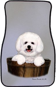 Puppy Bichon Frise Car Floor Mats - Carepeted All Weather Universal Fit for Cars & Trucks