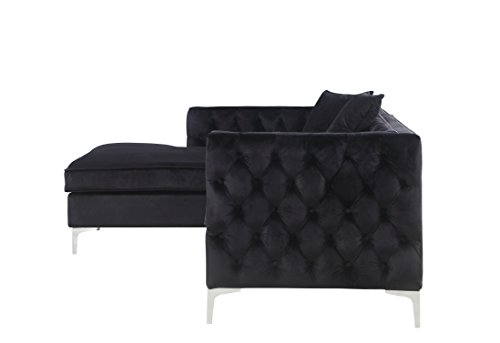 Iconic Home Da Vinci Left Hand Facing Sectional Sofa L Shape Chaise Velvet Button Tufted with Silver Nail Head Trim Silvertone Metal Y-Leg with 3 Accent Pillows, Modern Contemporary, Black